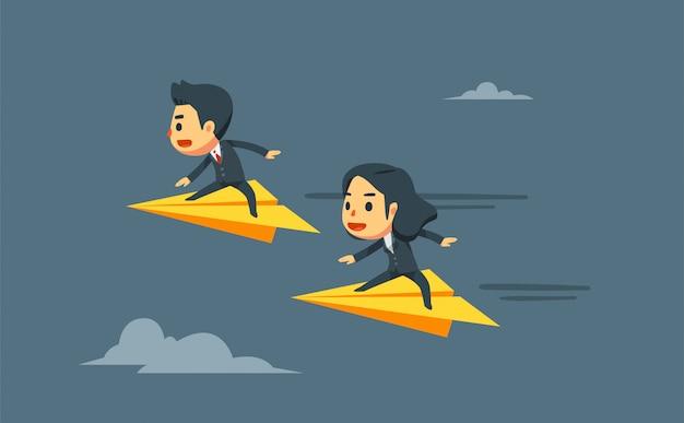 Zakenman en zakenvrouw vliegen op papier vliegtuigen.