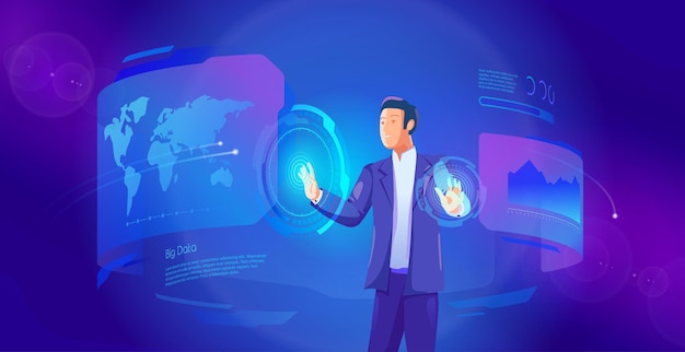 Zakenman exploiteert virtuele interface toekomstige wereldwijde communicatienetwerk technologie concept
