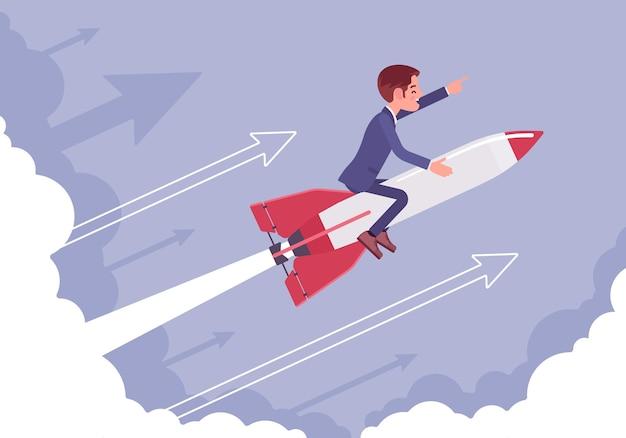 Zakenman gaat hoog naar succes op een raket