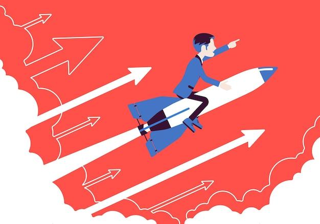 Zakenman gaat hoog naar succes op raket. leider die bedrijf naar de top brengt, winstgevende strategie om zich in de goede richting te ontwikkelen. motivatie bedrijfsconcept. vectorillustratie, gezichtsloze karakters