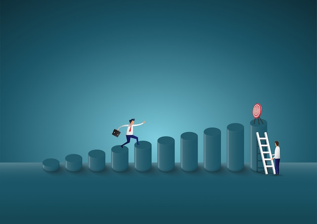 Zakenman gaat omhoog om doelen te vinden. de weg naar succes.
