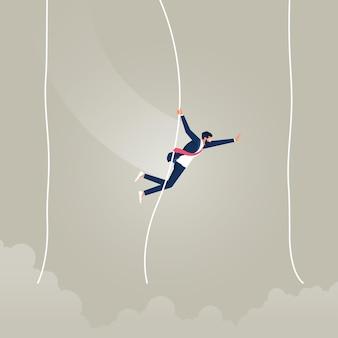 Zakenman gaat van een touw naar het andere zoals tarzan van het ene probleem naar het andere veel problemen