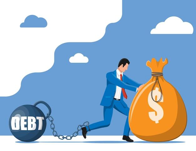 Zakenman geketend aan grote zware schuldenlast met boeien. karakter gebonden door ketting aan grote halter. zakelijke man zakelijke slavernij. belastingen, schulden, vergoedingen, crisis en faillissement. platte vectorillustratie