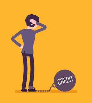 Zakenman geketend met een gigantische metall gewicht credit