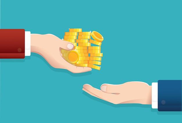 Zakenman geld geven