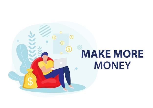 Zakenman geld verdienen met online zaken. online bedrijfsconcept.