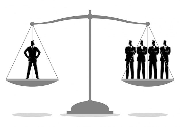Zakenman gelijk als vier zakenlieden
