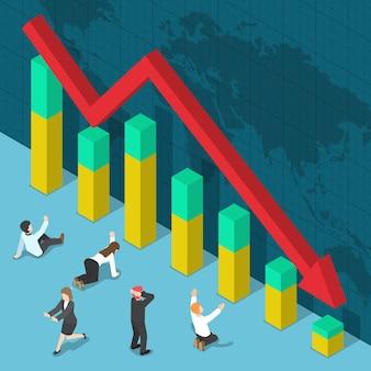 Zakenman geschokt wanneer zakelijke grafiek vallen, zakelijke crisis en faillissement concept