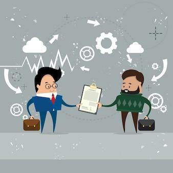 Zakenman give folder document papers
