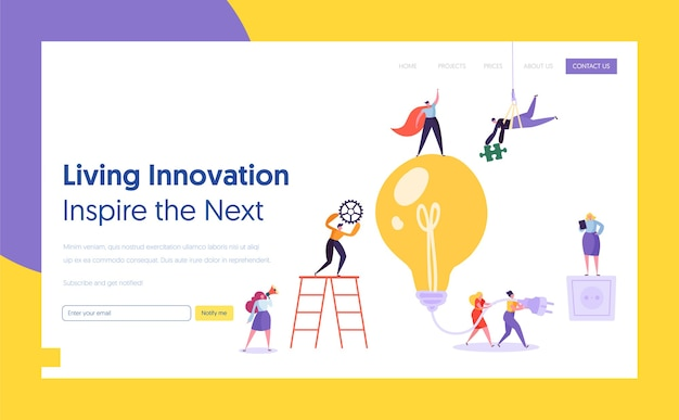 Zakenman gloeilamp idee concept bestemmingspagina. innovatie, brainstormen, creativiteit concept teamwork. karakter samenwerken aan nieuwe projectwebsite of webpagina. platte cartoon vectorillustratie
