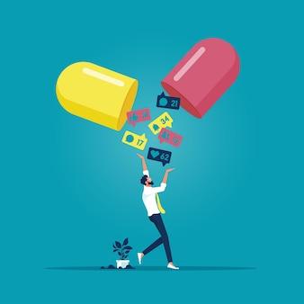 Zakenman grijpt meldingen van sociale media, verslaving aan sociale media is als een medicijn