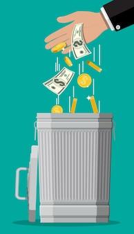 Zakenman hand dollarbiljetten aanbrengend prullenbak. geld verliezen of verspillen, te hoge uitgaven, faillissement of crisis. illustratie in vlakke stijl
