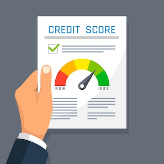 Zakenman hand met krediet geschiedenis financiën document met score-indicator.