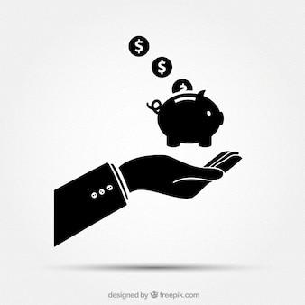 Zakenman hand met spaarpot