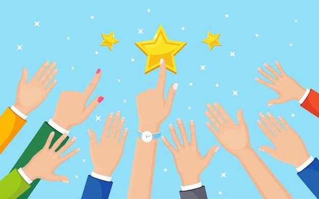 Zakenman hand stijgt tot ster. zakelijk succes, beroemdheid.
