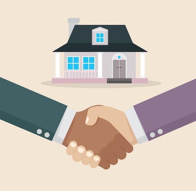 Zakenman handdruk deal-aankoop thuis.