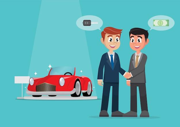 Zakenman handdruk deal voor de verkoop van een auto met contant geld.