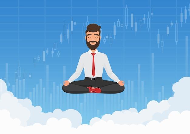 Zakenman handelaar mediteren in de lucht. meditatieve zakenman ontspannen boven wolken met beurs grafiek grafieken achtergrond