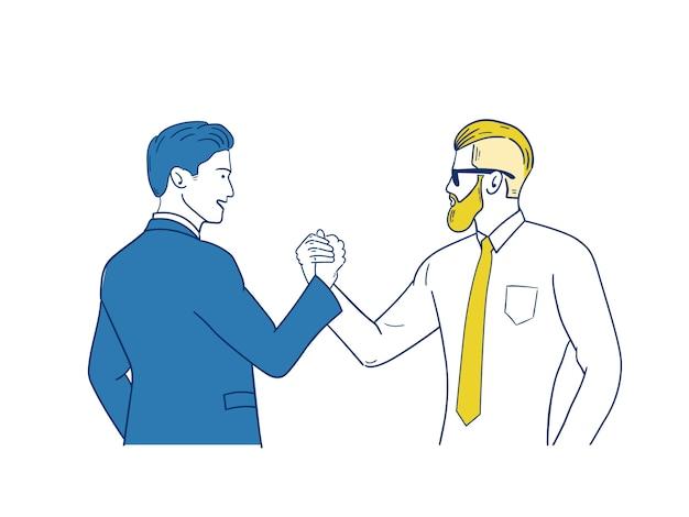 Zakenman handen schudden om een deal te sluiten met zijn partner.