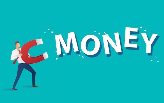 Zakenman het aantrekken van geld tekst met grote magneet