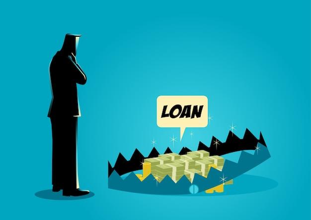 Zakenman het denken aan het nemen van leningen