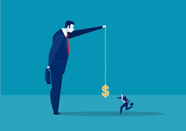 Zakenman het lopen vangt een dollar die op een haak, de actieve illustratie van het inkomenconcept wordt geplaatst.