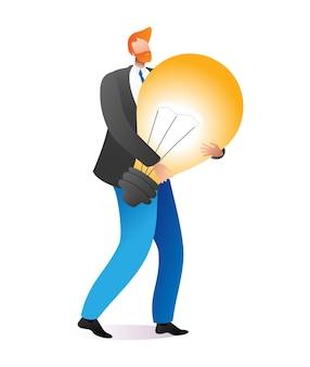 Zakenman hold dragen creatief idee gloeilamp, mannelijke karakter inspiratie brainstormen cartoon.