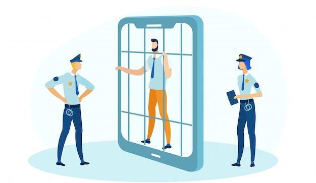 Zakenman holding bars in gevangenis in telefoonkader.
