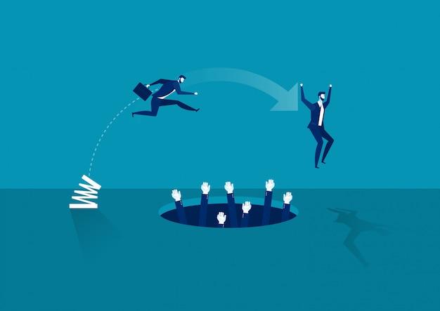 Zakenman hoogspringen over pit. bedrijven en wedstrijden. persoonlijke groei. moeilijkheden te overwinnen.