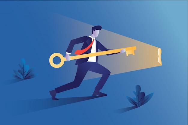 Zakenman houdt een grote sleutel voor groei of winst van een bedrijf