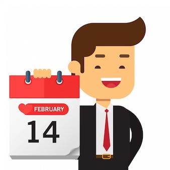 Zakenman houdt een kalender op valentijnsdag