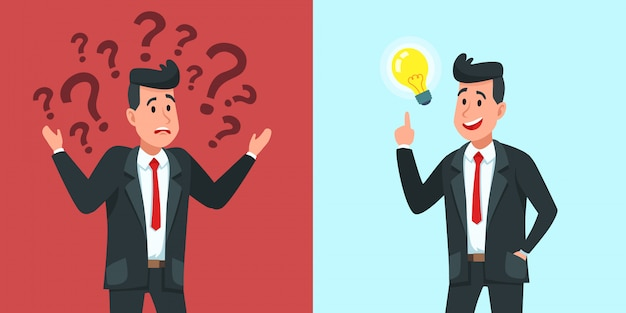 Zakenman idee vinden. verward zakenman vraagt zich af en vindt oplossing of opgeloste probleem cartoon vectorillustratie
