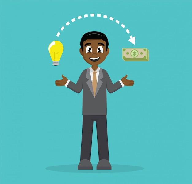 Zakenman ideeën veranderen in geld.
