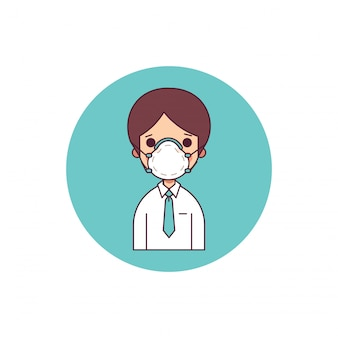 Zakenman in beschermend masker over natuur luchtverontreiniging