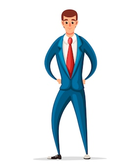 Zakenman in blauwe formele slijtage. karakter. illustratie op witte achtergrond.