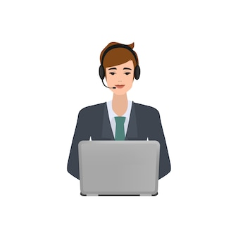 Zakenman in callcenter. klantenservice karakter.