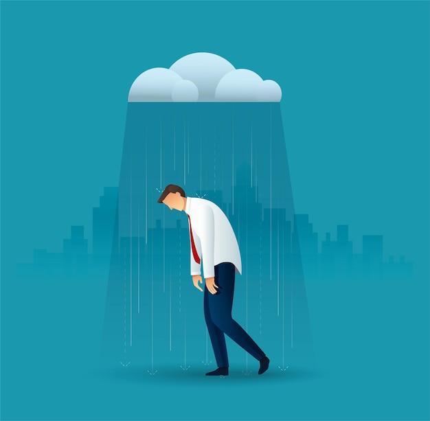 Zakenman in de regen