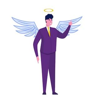 Zakenman in engelenkostuum