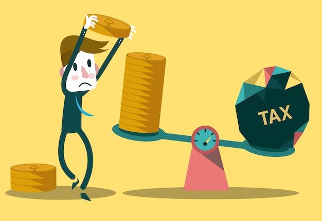 Zakenman in evenwicht brengende muntstukken met belasting