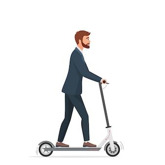 Zakenman in formeel pak met behulp van elektrische scooter stadsvoertuig geïsoleerd