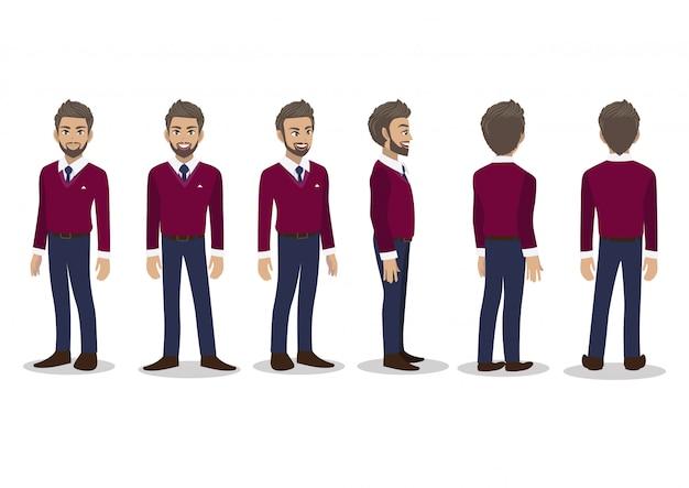 Zakenman in herfst casual met paarse trui shirt cartoon karakter animatieset.