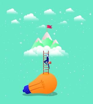 Zakenman in lamp licht met trap omhoog en bergen