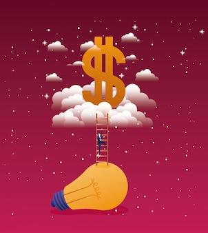 Zakenman in lamp licht met trap omhoog en dollar