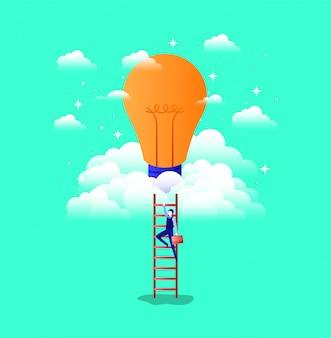 Zakenman in lamp licht met trap omhoog
