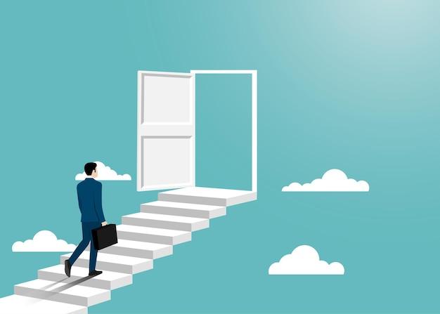 Zakenman in pak lopen naar de geopende deur. man opent deur op zoek naar werk. succes bedrijfsconcept. motivatie en opstarten concept. begin van zakelijke carrière. vector illustratie plat ontwerp