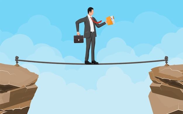 Zakenman in pak lopen op touw met koffer en map. bedrijfsmens die op koordhiaat lopen. obstakel op de weg, financiële crisis. risicomanagement uitdaging. vectorillustratie in vlakke stijl