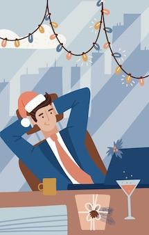 Zakenman in pak werken met computer op tafel in het kantoor en vieren gelukkig nieuwjaar en vrolijk kerstfeest. concept zaken en vakantie. geheime kerstman. platte vectorillustratie.