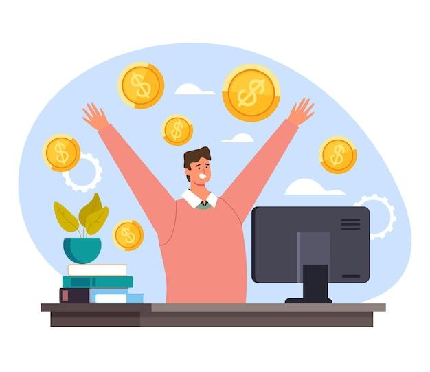Zakenman kantoormedewerker manager geld winnen.