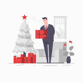 Zakenman karakter concept illustratie bedrijf presenteert dozen cadeau kerst prettige vakantie