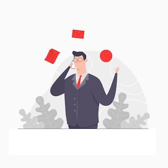 Zakenman karakter concept illustratie oproep zakenman tijd document zakelijke overeenkomst deal